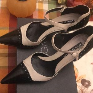 Via Spiga Black patent and cream with ankle straps